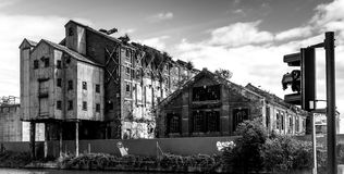 Abandoned Canalside Warehouse Royalty Free Stock Photography