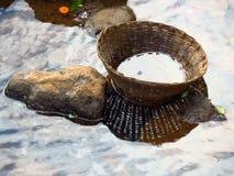 Abandoned Cane Basket Stock Image