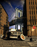 Abandoned car. Abandoned old car in Manhattan stock illustration