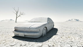 Abandoned car. Abandoned damaged car in the desert Royalty Free Stock Photography