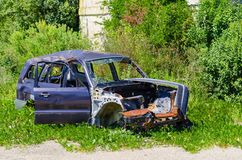 Abandoned car after an accident stock photo