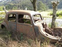 Abandoned car along the side of the road in herault, languedoc, france. Abandoned car along the side of the road in herault, a department of the region Languedoc stock images