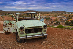 Abandoned car in a desert (Coober Pedy) Stock Photo