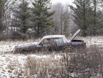 Abandoned car in a field Stock Photography