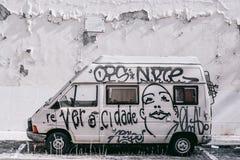 Abandoned car graffiti stock image