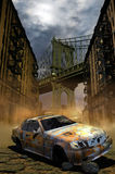 Abandoned car in Manhattan. An abandoned car in a desolated street, with the Manhattan bridge at the background vector illustration