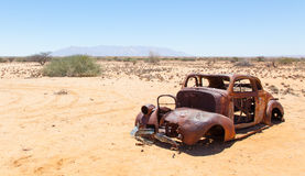 Abandoned car in the Namib Desert Royalty Free Stock Photos
