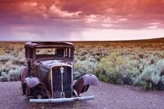 Abandoned car near the entrance to the Painted desert. Arizona Stock Photography