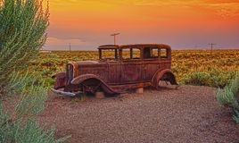 Abandoned car near the entrance to the Painted desert. Arizona Royalty Free Stock Photos