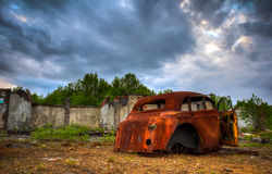 Abandoned car. Old retro car at the junkyard Royalty Free Stock Images