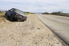 Abandoned Car On Roadside Royalty Free Stock Images