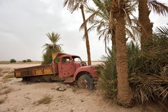Abandoned car in Sahara Desert, Morocco Royalty Free Stock Photography