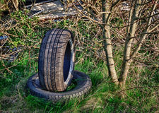 Abandoned car tires on dump. Dumped car tyres abandoned in overgrown field Stock Photos