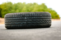 Abandoned car tyre Royalty Free Stock Images
