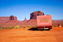 Abandoned Caravan In The Monument Valley Stock Photos