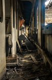 Abandoned carriage interor with seats. Closeup Royalty Free Stock Photo