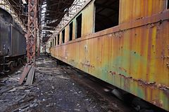 Abandoned Carriage. Abandoned train carriage in a decaying depo Stock Photography