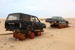 Abandoned cars in the desert Stock Photo
