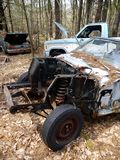 Abandoned cars: stolen engine v stock photography