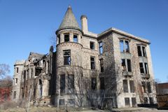 An Abandoned Castle in Detroit, MI. A picture an old house in Detroit, Michigan that resembles a medieval castle that has been left as an abandoned ruin for many stock photography