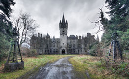 An abandoned castle. Nothing left anymore. An abandoned castle somewhere in Belgium with a great history royalty free stock image