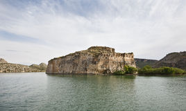 Abandoned Castle (Rum Kale) Halfeti, Turkey. Abandoned Castle (Rum Kale) in Firat River (Euphrates River), Halfeti, Gaziantep, Turkey Royalty Free Stock Images