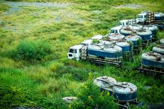 Abandoned cement trucks royalty free stock photo