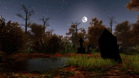 Abandoned cemetery in spooky night forest. Abandoned swamped cemetery with black ancient gravestones in a haunted autumn forest under night sky with full moon Stock Photography