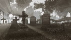 Abandoned cemetery at sunset monochrome. Old abandoned graveyard at last sunset rays. Monochromatic 3D illustration was done from my own 3D rendering file Stock Images