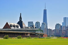 The abandoned Central Railroad of New Jersey Terminal with New York City in the background. The abandoned Central Railroad of New Jersey Terminal next to a royalty free stock photos
