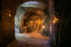 Abandoned chalky underground cave monastery, underground church in Kalach stock image
