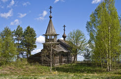 Abandoned chapel. Abandoned wooden chapel from an abandoned village in Karelia (North-Western Russia Stock Images