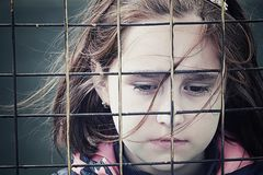 Abandoned child, children without parents stock images
