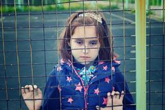 Abandoned child, children without parents stock photos