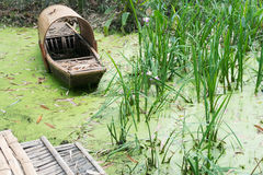 Abandoned chinese bamboo boat in green water Stock Photography