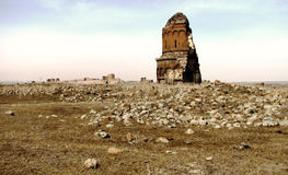 Abandoned Church in Ani, Former Armenian Capital. A rocky and desolate landscape, along with a few old churches is all that remains of the ancient capital of Ani Royalty Free Stock Photos