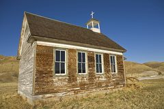 Abandoned church in badlands Stock Photo