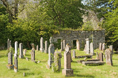 Abandoned church and cemetry. Royalty Free Stock Photo