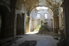 Abandoned church with collapsed roof in Craco, Italy. Abandoned church with collapsed roof in Craco town, Italy stock photos
