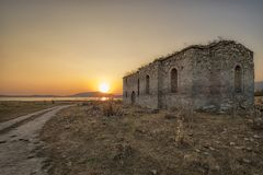 Abandoned church landscape stock photo