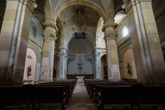 Abandoned church somewhere in Spain. Totally intact, still retains even its religious images Royalty Free Stock Image