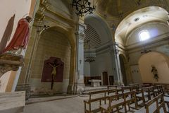 Abandoned church somewhere in Spain. Totally intact, still retains even its religious images Royalty Free Stock Photos