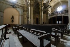 Abandoned church somewhere in Spain. Totally intact, still retains even its religious images Royalty Free Stock Photo