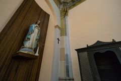 Abandoned church somewhere in Spain. Totally intact, still retains even its religious images Stock Photo