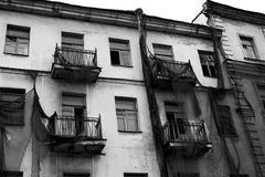 Abandoned city building black and white. Photo Royalty Free Stock Photography