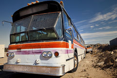 Abandoned City Bus. Old city bus left at a junkyard Royalty Free Stock Photography