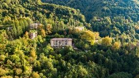 An abandoned city, a Ghost town, Akarmara. Aerial view. Located near Tkvarcheli. Abkhazia. Georgia royalty free stock photography