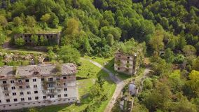 An abandoned city, a Ghost town, Akarmara. Aerial viewLocated near Tkvarcheli. Abkhazia. Georgia. stock video