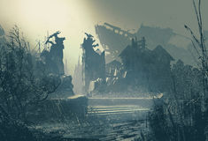 Abandoned city in heavy rain. Landscape painting vector illustration