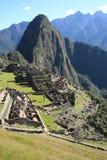 Abandoned City of Machu Picchu and Huayna Picchu mountain Stock Photos